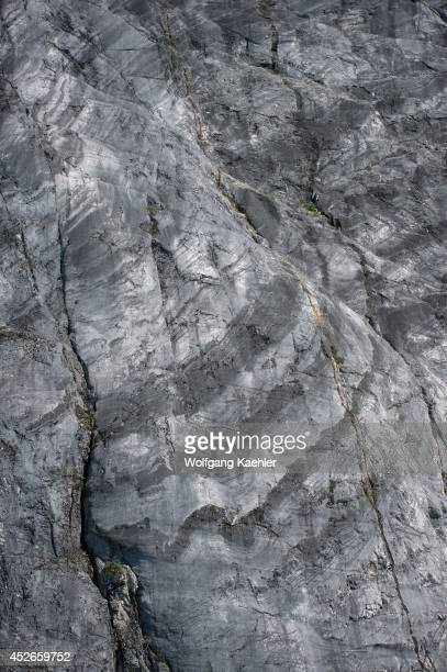 Cliff with striations carved and polished by a glacier, Glacier Bay National Park, Alaska, USA.