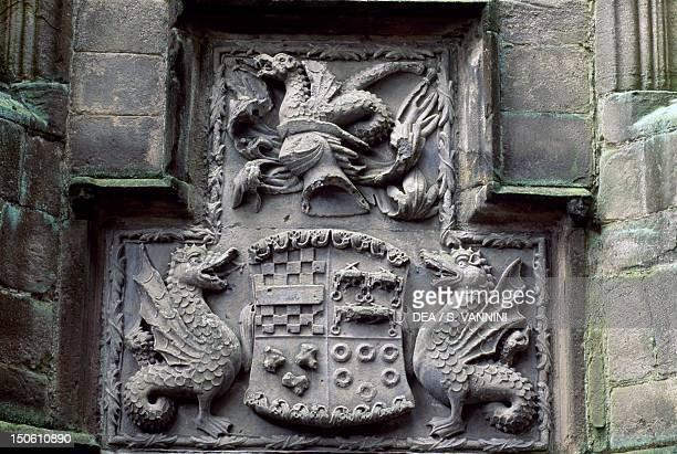 Clifford Crest detail from Conduit Court Skipton Castle North Yorkshire England