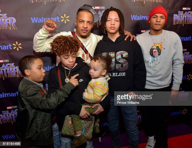 Clifford Harris III Major Harris Heiress Harris TI and Domani Harris attend 'Black Panther' Advance screening at Regal Hollywood on February 13 2018...