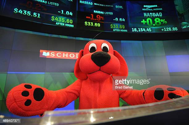 Clifford the Big Red Dog attends The NASDAQ Closing Bell at NASDAQ MarketSite on February 14 2014 in New York City