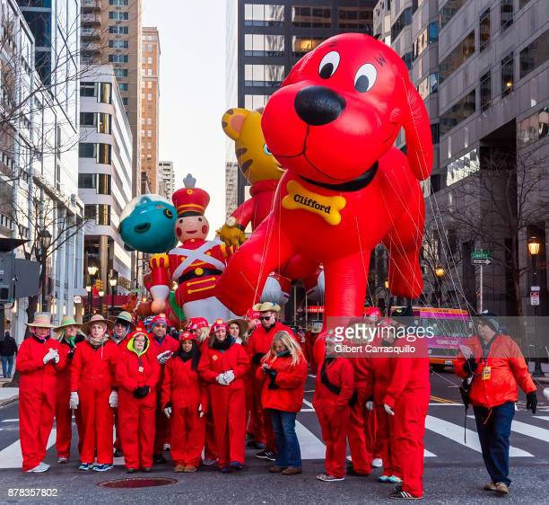 Clifford The Big Red Dog balloon during the 98th Annual 6abc/Dunkin' Donuts Thanksgiving Day Parade on November 23 2017 in Philadelphia Pennsylvania