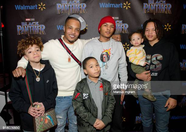 Clifford TI Harris and his family attend Marvel Studios Black Panther advance screening at Regal Hollywood on February 13 2018 in Chamblee Georgia