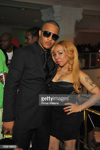 Clifford ' TI ' Harris and Tameka 'Tiny' Harris attends the 'Takers' premiere after party at 200 Peachtree on August 25 2010 in Atlanta Georgia