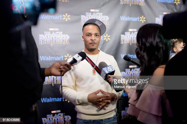 Clifford TI Harris interviews with media during the Marvel Studios Black Panther advance screening at Regal Hollywood on February 13 2018 in Chamblee...