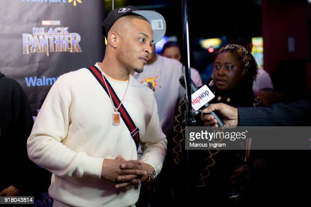 Clifford 'TI' Harris interviews with media during the Marvel Studios Black Panther advance screening at Regal Hollywood on February 13 2018 in...