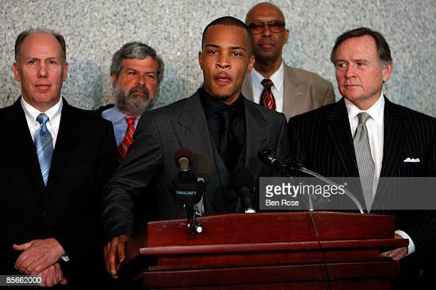 """Clifford """"T.I."""" Harris speaks at the Richard B. Russell Federal Building and United States Courthouse for on March 27, 2009 in Atlanta, Georgia...."""