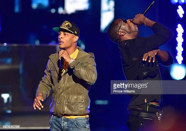 "Clifford ""TIP"" Harris and Young Dro peform at the 2015 BET Hip Hop awards at Boisfeuillet Jones Atlanta Civic Center on October 9, 2015 in Atlanta,..."