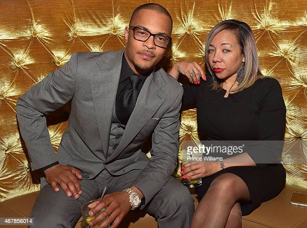 Cliffors 'TI' Harris and Tameka 'Tiny' Harris attend 925 Scales Ribbon Cutting Ceremony at 925 Scales on March 27 2015 in Atlanta Georgia