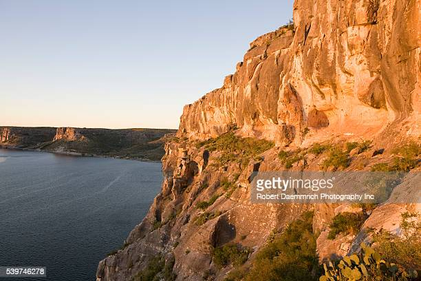 Cliffs about 200 feet high overlook the Devil's River at Lake Amistad National Recreation Area in Val Verde County near the USMexico border