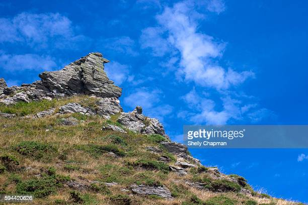 cliffs against blue skies in devon coast - exeter england stock pictures, royalty-free photos & images