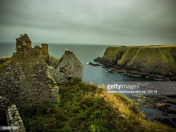cliffs along the north sea of scotland - dunnottar castle stock pictures, royalty-free photos & images