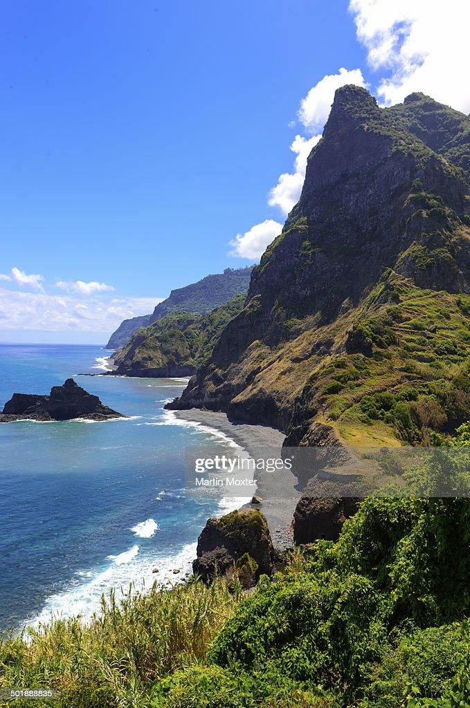 Cliffs at Boaventura, Porta Delgada, Boaventura, Madeira, Portugal : Stock Photo