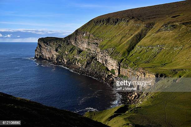 Cliffs at The Noup on the Island of Foula which has the second highest sea cliffs in the UK on October 2 2016 in Foula Scotland Foula is the remotest...