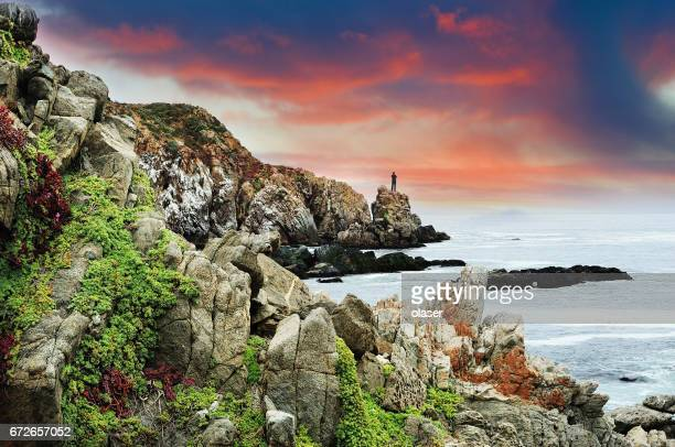 cliffs close to vina del mar in the evening - vina del mar stock pictures, royalty-free photos & images