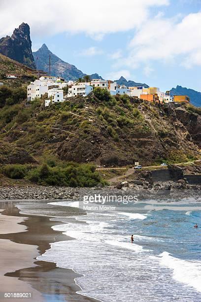 Cliffs in the Anaga Mountains with the Playa de Roque de las Bodegas beach, Almaciga, Almaciga, Tenerife, Canary Islands, Spain