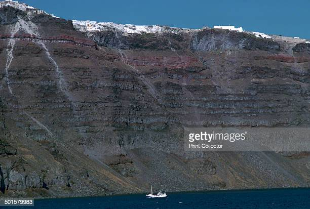 Cliffs inside the crater of the volcano on Santorini formed by the eruption of c 1450 BC that destroyed Thera 15th century BC