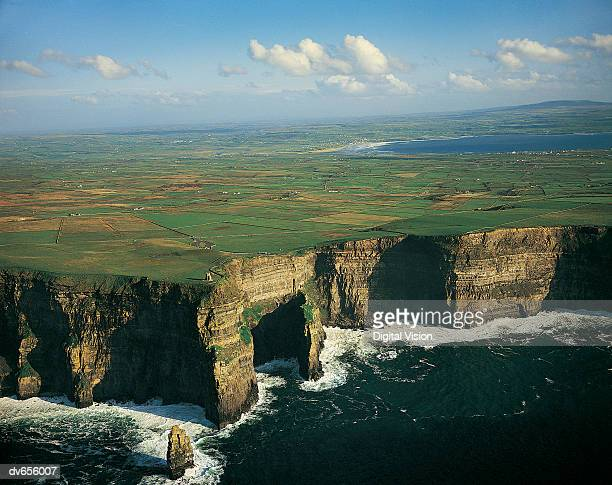Cliffs Of Moher and Liscannor Bay in background, County Clare, Ireland