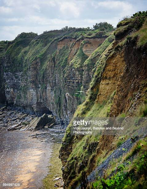 cliffs of pointe du hoc, normandy invasion site - juno beach normandy stock pictures, royalty-free photos & images