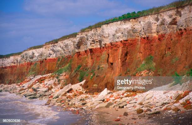 Cliffs of striped sedimentary rock at Hunstanton Norfolk England