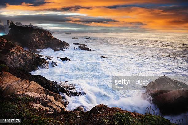 Acantilados de de viña del Mar en la noche
