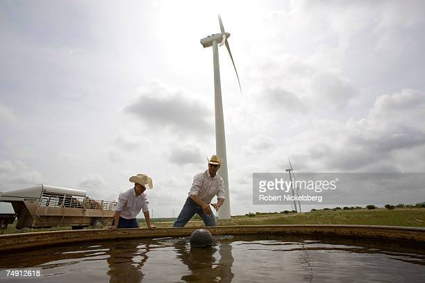 Clifton Brandon and his son Teagan 10 years clean a water tank for their 300head of black angus cattle on the Lone Star Wind Farm on June 9 17 miles...