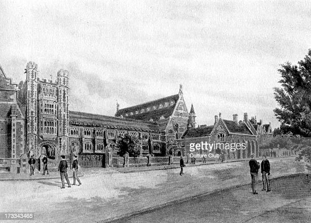 Clifton College English public school Nineteenth century coloured engraving by F P Barraud