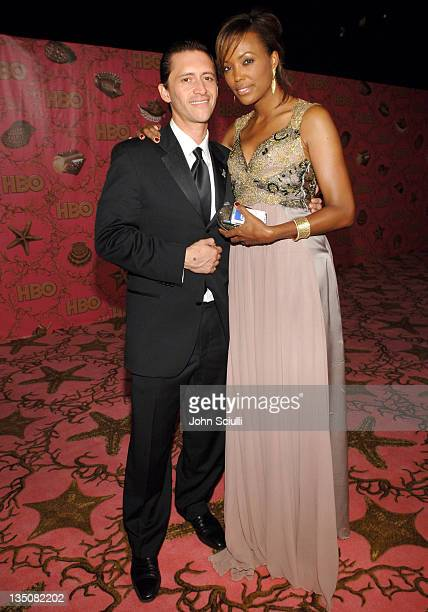 Clifton Collins Jr and Aisha Tyler during 58th Annual Primetime Emmy Awards HBO After Party Red Carpet and Inside at Pacific Design Center in West...