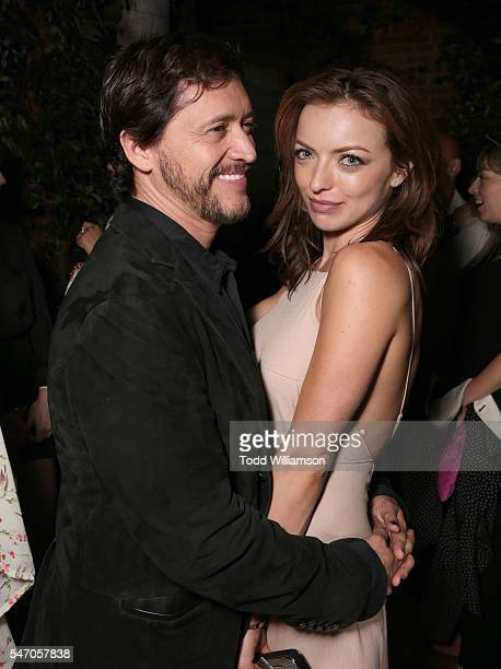 Clifton Collins Jr and Francesca Eastwood attend the after party for the premiere of Momentum Pictures' Outlaws And Angels on July 12 2016 in Beverly...