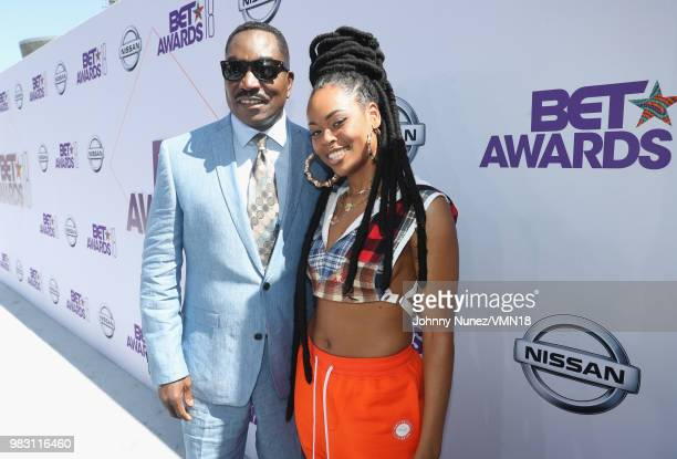 Clifton Powell and Bri Steves attend the 2018 BET Awards at Microsoft Theater on June 24 2018 in Los Angeles California
