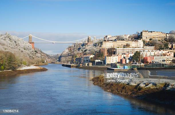 Clifton Suspension Bridge and the River Avon at Hotwells. Bristol. England. UK.