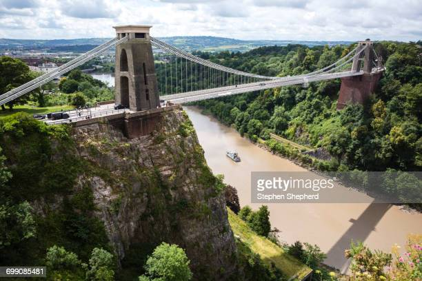 clifton suspension bridge, avon gorge and river avon, bristol, united kingdom - bristol england stock pictures, royalty-free photos & images