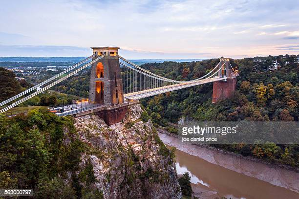 clifton suspension bridge, avon gorge, bristol - bristol stock pictures, royalty-free photos & images