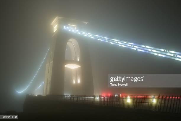 Clifton Suspension Bridge, Fog, Night, Bristol, England