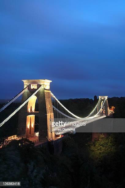 Clifton Suspension Bridge illuminated at night, Bristol.