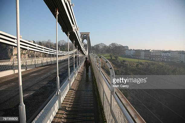 Clifton Suspension Bridge stands on February 13 in Bristol United Kingdom Spanning the Avon Gorge the Grade I listed structure is the symbol of the...