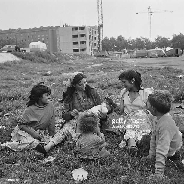 Clignancourt gate Gypsy family in a camp in Paris France in 1950s