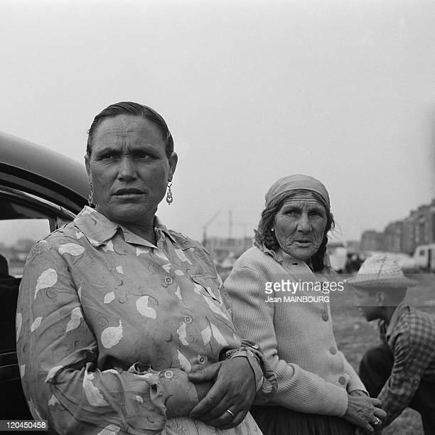 Clignancourt gate Gypsy women portrait in Paris France in 1950s