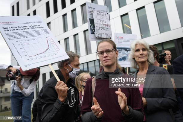 Climate activist Beate Thalmann reacts with supporters on September 24 2020 in Renens near Lausanne after the verdict of an appeal by the canton Vaud...
