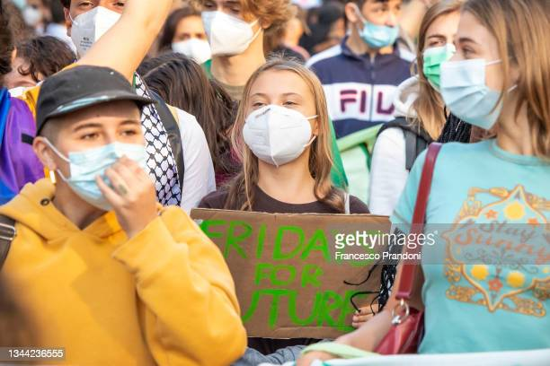 Climate activist Greta Thunberg participates in a Friday for Future student strike on October 01, 2021 in Milan, Italy. On the sidelines of various...