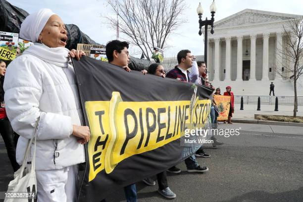 Climate activist groups protest in front of the U.S. Supreme Court as oral arguments are heard in U.S. Forest Service and Atlantic Coast Pipeline,...