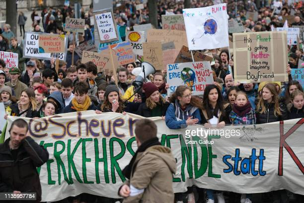 Climate activist Luisa Neubauer leads a FridaysForFuture climate protest march on March 15 2019 in Berlin Germany According to organizers striking...