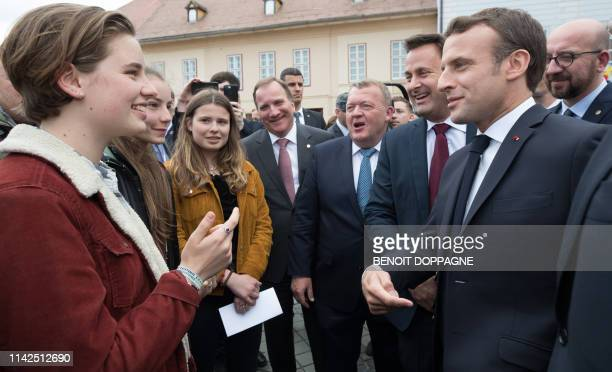 Climate activists Anuna de Wever from Belgium, Paula Doerr from Romania and Luisa Marie Neubauer from Germany meet Sweden's Prime Minister Stefan...