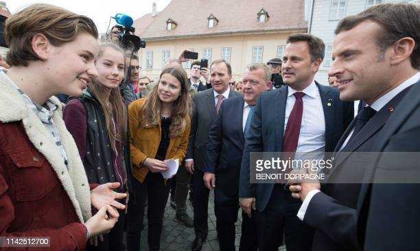 Climate activists Anuna de Wever from Belgium Paula Doerr from Romania and Luisa Marie Neubauer from Germany meet Sweden's Prime Minister Stefan...