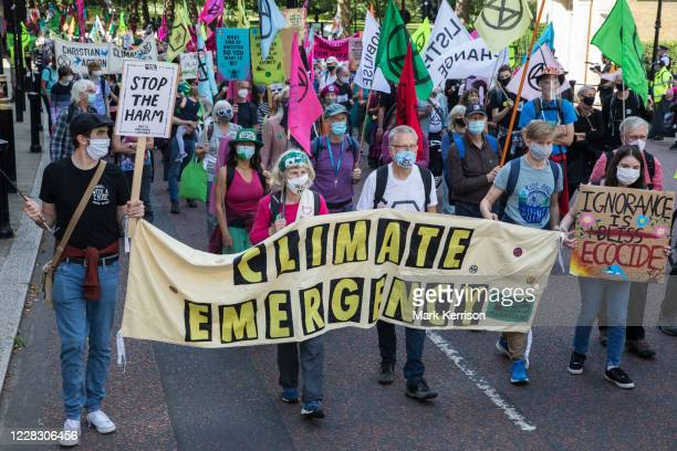 Climate activists from Extinction Rebellion march to a Back The Bill rally in Parliament Square from Buckingham Palace on 1st September 2020 in...
