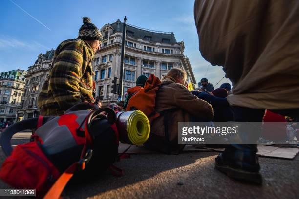 Climate activists gather at Oxford Circus as part of the ongoing protest by Extinction Rebellion group London on April 19 2019 More than 400 arrests...