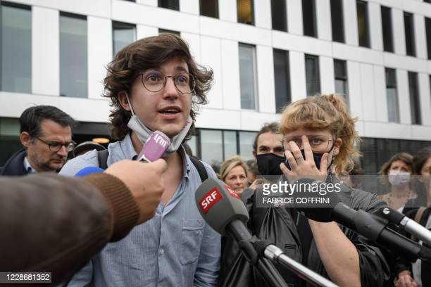 Climate activists Paul Castelain and Claire Corbaz reacts on September 24 2020 in Renens near Lausanne after the verdict of an appeal by the canton...
