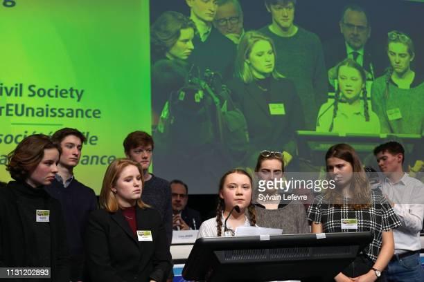 Climate activits Anuna De Wever Kyra Gantois leader of Youth for Climat Greta Thunberg Adelaide Charlier and Luisa Neubauer address the European...