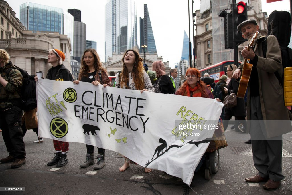 GBR: Extinction Rebellion Climate Change Action In The City Of London