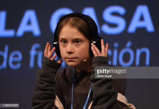 Climate change activist Greta Thunberg holds a press conference on December 6, 2019 in Madrid, Spain. Greta is in Madrid to attend the COP25 Climate...