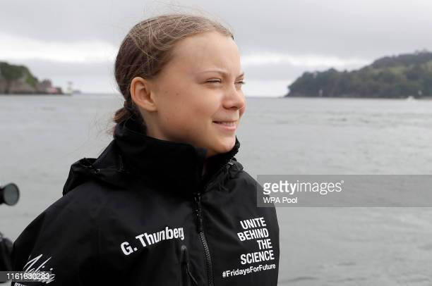 Climate change activist Greta Thunberg prepares to set sail for New York in the 60ft Malizia II yacht from Mayflower Marina on August 14 2019 in...